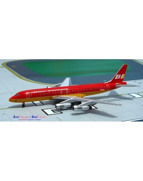 Braniff  Douglas DC-8-51 N820E Flying colors red/orange 1/400 scale diecast