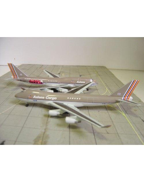 Asiana Boeing 747-48E HL7423 World Cup and Asiana Cargo Boeing 48EF/SCD HL7436 Double 1/400 scale diecast Dragon Wings Models