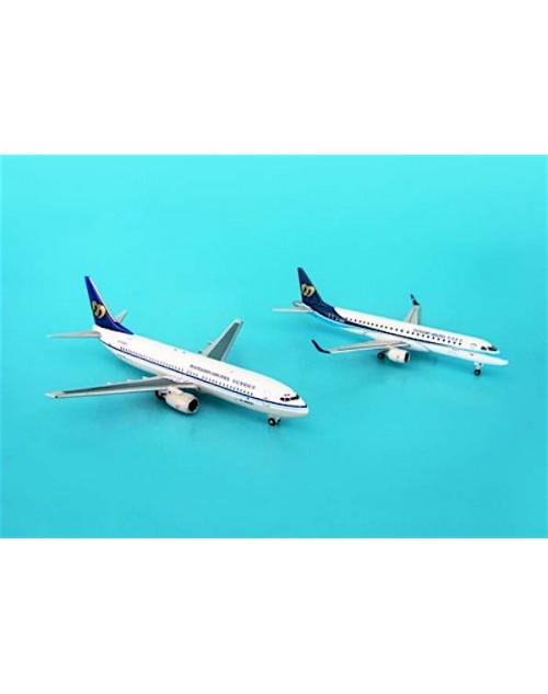 Mandarin Airlines Boeing 737-8Q8 B-16802 and Embraer ERJ-190 B-16821 double 1/500 scale diecast Hogan Wings